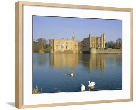 Swans in Front of Leeds Castle, Kent, England-G Richardson-Framed Art Print