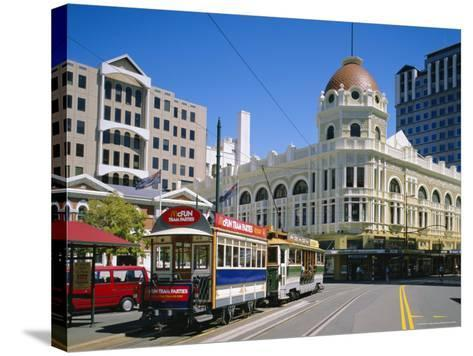 Tram in Cathedral Square, Christchurch, New Zealand, Australasia-Rolf Richardson-Stretched Canvas Print