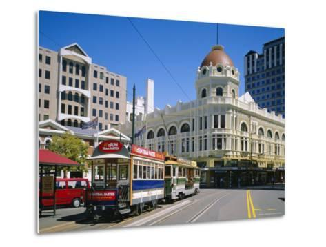 Tram in Cathedral Square, Christchurch, New Zealand, Australasia-Rolf Richardson-Metal Print