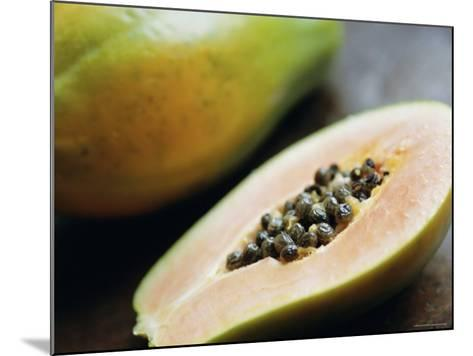 Papaya (Pawpaw) Sliced Open to Show Black Seeds-Lee Frost-Mounted Photographic Print