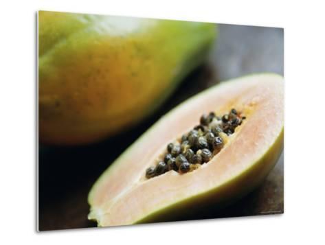 Papaya (Pawpaw) Sliced Open to Show Black Seeds-Lee Frost-Metal Print