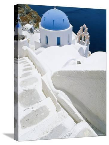 Blue Domed Church, Oia, Santorini, Cyclades Islands, Greece, Europe-Lee Frost-Stretched Canvas Print