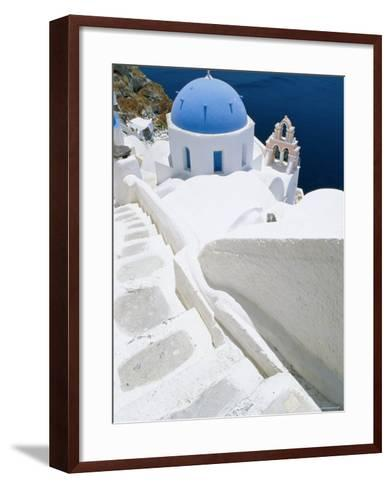 Blue Domed Church, Oia, Santorini, Cyclades Islands, Greece, Europe-Lee Frost-Framed Art Print