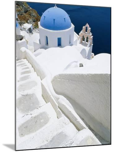 Blue Domed Church, Oia, Santorini, Cyclades Islands, Greece, Europe-Lee Frost-Mounted Photographic Print