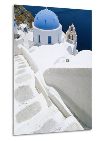 Blue Domed Church, Oia, Santorini, Cyclades Islands, Greece, Europe-Lee Frost-Metal Print