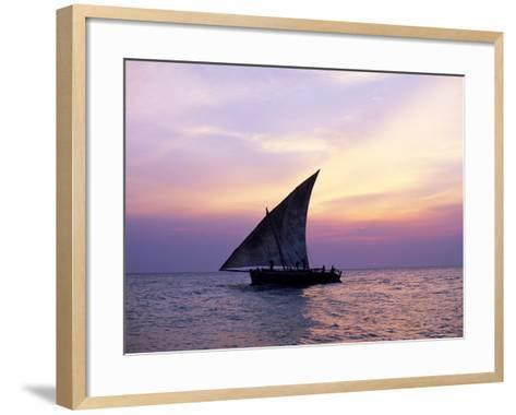 Dhow in Silhouette on the Indian Ocean at Sunset, off Stone Town, Zanzibar, Tanzania, East Africa-Lee Frost-Framed Art Print