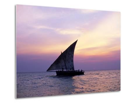 Dhow in Silhouette on the Indian Ocean at Sunset, off Stone Town, Zanzibar, Tanzania, East Africa-Lee Frost-Metal Print