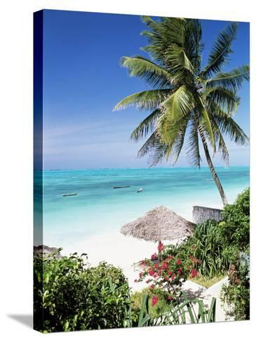 View Through Palm Trees Towards Beach and Indian Ocean, Jambiani, Island of Zanzibar, Tanzania-Lee Frost-Stretched Canvas Print