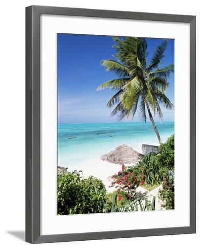 View Through Palm Trees Towards Beach and Indian Ocean, Jambiani, Island of Zanzibar, Tanzania-Lee Frost-Framed Art Print