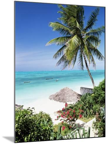 View Through Palm Trees Towards Beach and Indian Ocean, Jambiani, Island of Zanzibar, Tanzania-Lee Frost-Mounted Photographic Print