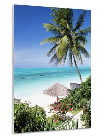 View Through Palm Trees Towards Beach and Indian Ocean, Jambiani, Island of Zanzibar, Tanzania-Lee Frost-Metal Print