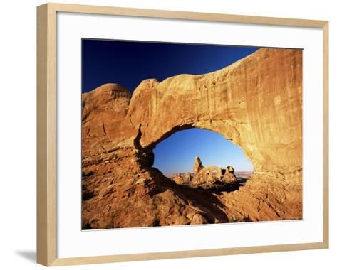 Turret Arch Through North Window at Sunrise, Arches National Park, Moab, Utah, USA-Lee Frost-Framed Art Print