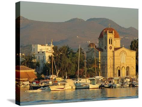 Town Church and Waterfront, Aegina, Argo-Saronic Islands, Greece, Europe-Lee Frost-Stretched Canvas Print