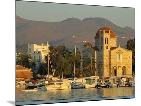 Town Church and Waterfront, Aegina, Argo-Saronic Islands, Greece, Europe-Lee Frost-Mounted Photographic Print
