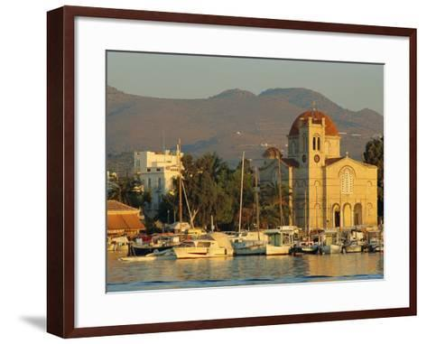 Town Church and Waterfront, Aegina, Argo-Saronic Islands, Greece, Europe-Lee Frost-Framed Art Print