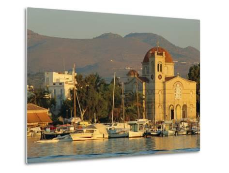 Town Church and Waterfront, Aegina, Argo-Saronic Islands, Greece, Europe-Lee Frost-Metal Print