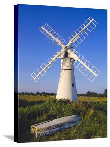 Windmill on Thurne Broad, Norfolk, England-Charles Bowman-Stretched Canvas Print