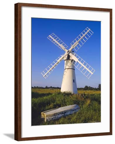 Windmill on Thurne Broad, Norfolk, England-Charles Bowman-Framed Art Print
