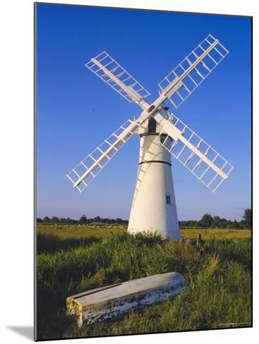 Windmill on Thurne Broad, Norfolk, England-Charles Bowman-Mounted Photographic Print