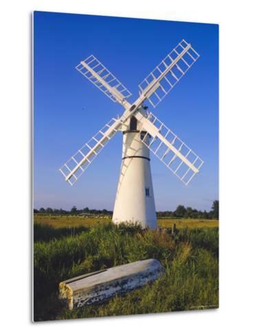 Windmill on Thurne Broad, Norfolk, England-Charles Bowman-Metal Print