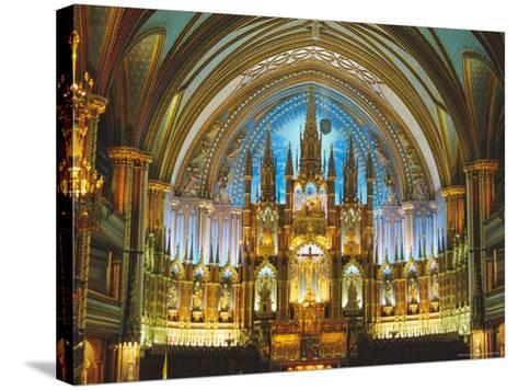 Interior, Basilica of Notre Dame, Montreal, Quebec Province, Canada-Charles Bowman-Stretched Canvas Print
