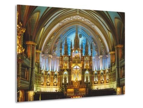 Interior, Basilica of Notre Dame, Montreal, Quebec Province, Canada-Charles Bowman-Metal Print