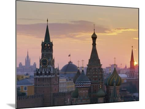 St. Basil's Cathedral and Kremlin, Moscow, Russia-Charles Bowman-Mounted Photographic Print
