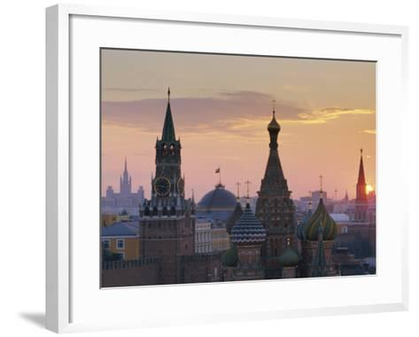 St. Basil's Cathedral and Kremlin, Moscow, Russia-Charles Bowman-Framed Art Print
