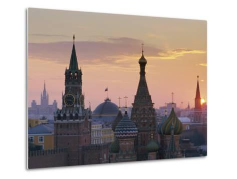 St. Basil's Cathedral and Kremlin, Moscow, Russia-Charles Bowman-Metal Print