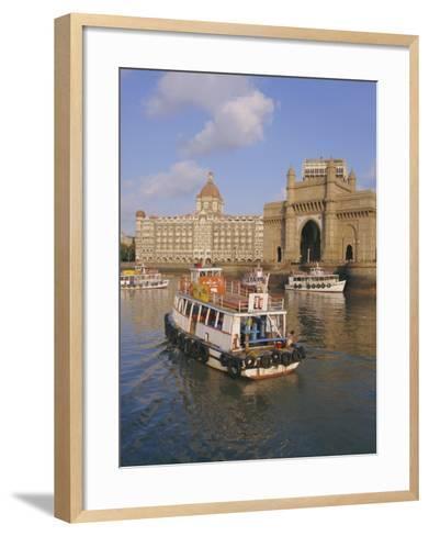 The Gateway to India and the Taj Mahal Hotel, Mumbai (Bombay), India-Charles Bowman-Framed Art Print
