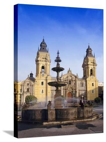 Fountain in Front of the Cathedral in Lima, Peru, South America-Charles Bowman-Stretched Canvas Print