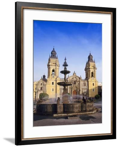 Fountain in Front of the Cathedral in Lima, Peru, South America-Charles Bowman-Framed Art Print