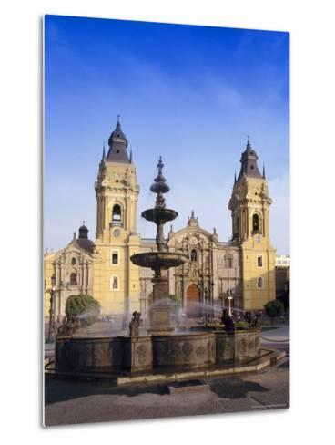 Fountain in Front of the Cathedral in Lima, Peru, South America-Charles Bowman-Metal Print