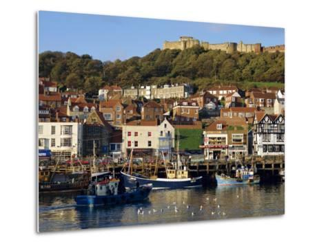 Scarborough, Harbour and Seaside Resort with Castle on the Hill, Yorkshire, England-Adina Tovy-Metal Print