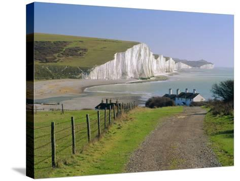 View to the Seven Sisters from Seaford Head, East Sussex, England, UK-Ruth Tomlinson-Stretched Canvas Print