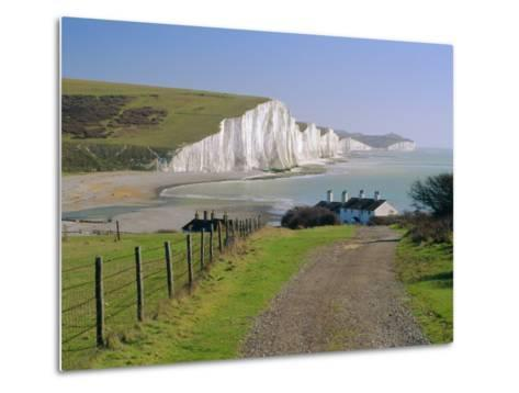 View to the Seven Sisters from Seaford Head, East Sussex, England, UK-Ruth Tomlinson-Metal Print