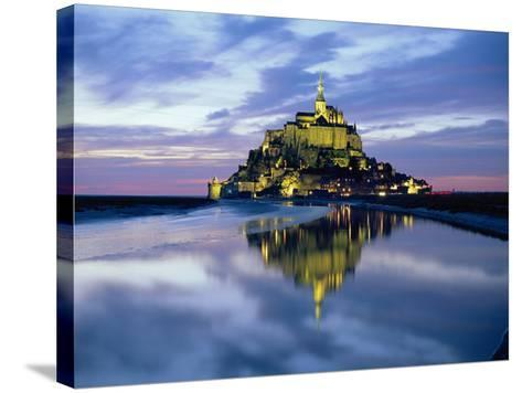 The Mount by Night Reflected in Water, Mont St. Michel, Manche, Normandy, France-Ruth Tomlinson-Stretched Canvas Print