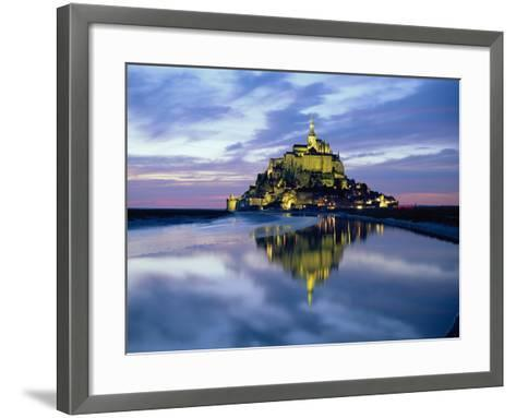 The Mount by Night Reflected in Water, Mont St. Michel, Manche, Normandy, France-Ruth Tomlinson-Framed Art Print