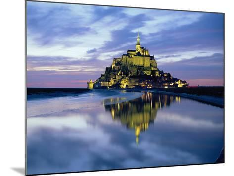 The Mount by Night Reflected in Water, Mont St. Michel, Manche, Normandy, France-Ruth Tomlinson-Mounted Photographic Print