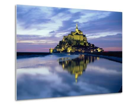The Mount by Night Reflected in Water, Mont St. Michel, Manche, Normandy, France-Ruth Tomlinson-Metal Print