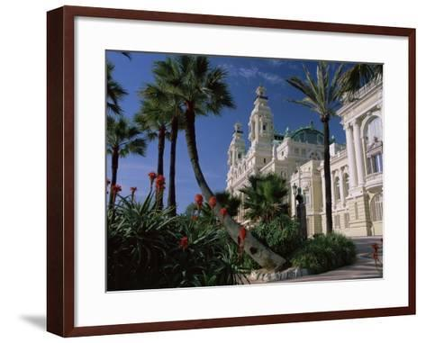 The Casino from the South Terrace, Palms and Flowers in Foreground, Monte Carlo, Monaco, Europe-Ruth Tomlinson-Framed Art Print