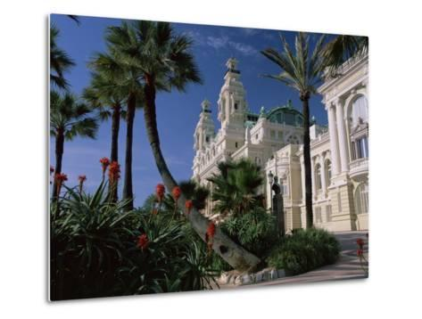 The Casino from the South Terrace, Palms and Flowers in Foreground, Monte Carlo, Monaco, Europe-Ruth Tomlinson-Metal Print