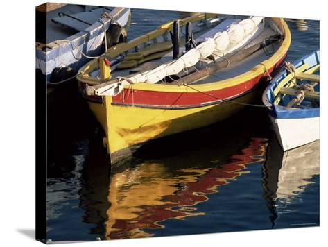 Colourful Boats Reflected in the Water of the Harbour, Sete, Herault, Languedoc-Roussillon, France-Ruth Tomlinson-Stretched Canvas Print