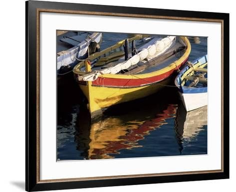 Colourful Boats Reflected in the Water of the Harbour, Sete, Herault, Languedoc-Roussillon, France-Ruth Tomlinson-Framed Art Print