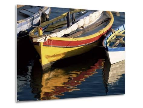 Colourful Boats Reflected in the Water of the Harbour, Sete, Herault, Languedoc-Roussillon, France-Ruth Tomlinson-Metal Print