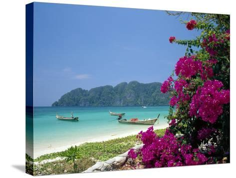 Boats Moored off Beach of Phi Phi Don Island, off Phuket, Thailand-Ruth Tomlinson-Stretched Canvas Print
