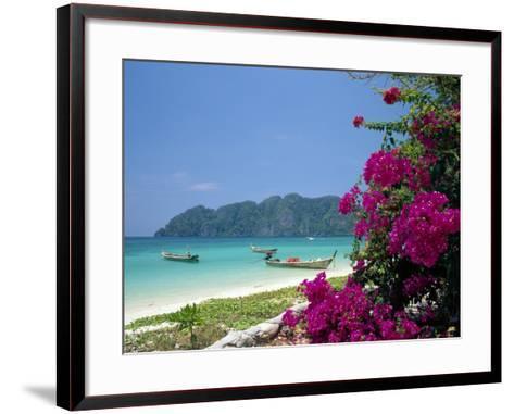 Boats Moored off Beach of Phi Phi Don Island, off Phuket, Thailand-Ruth Tomlinson-Framed Art Print