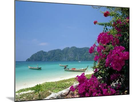 Boats Moored off Beach of Phi Phi Don Island, off Phuket, Thailand-Ruth Tomlinson-Mounted Photographic Print