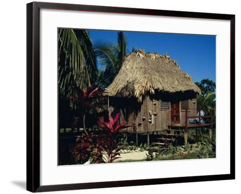 Typical Thatched Wooden Hut on the Island, Caye Caulker, Belize, Central America-Christopher Rennie-Framed Art Print
