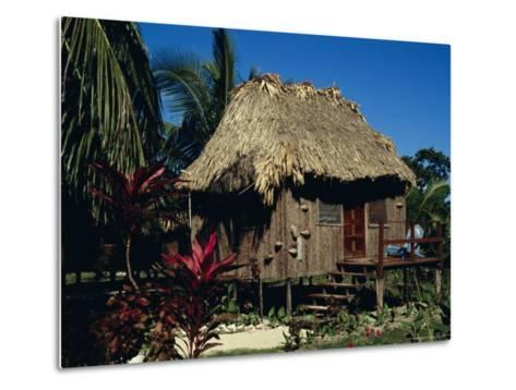 Typical Thatched Wooden Hut on the Island, Caye Caulker, Belize, Central America-Christopher Rennie-Metal Print